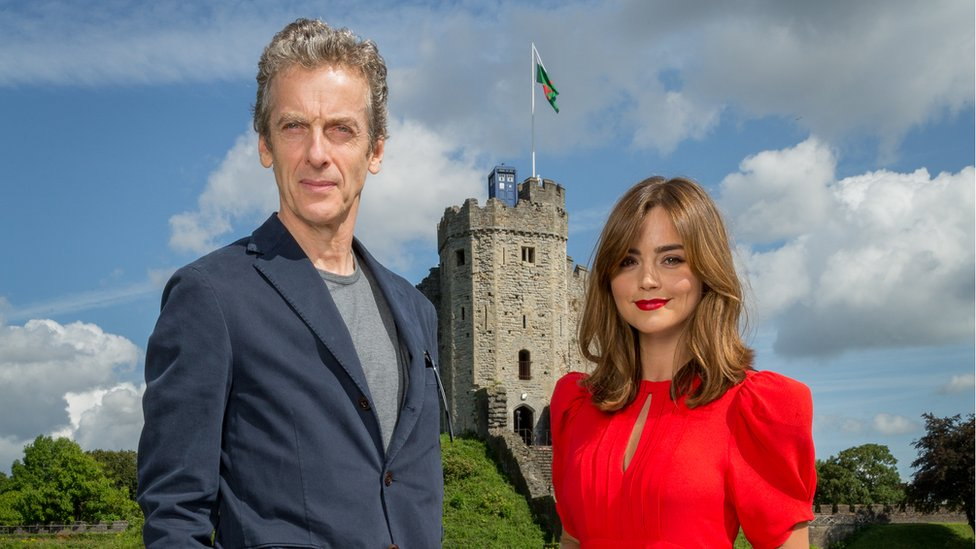 Peter Capaldi, Jenna Coleman and a Tardis appeared at Cardiff Castle