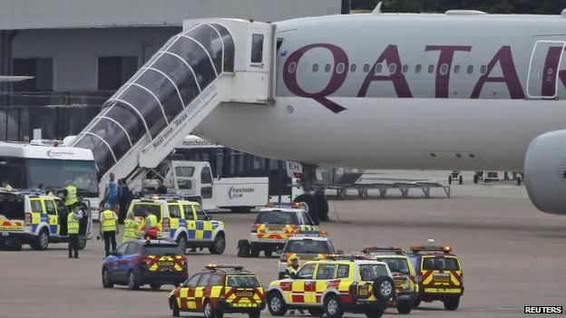 Qatar airliner after landing