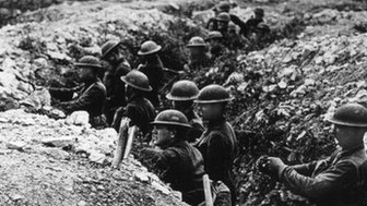 In this undated file photo, United States Army troops stand in the trenches in France during World War One.