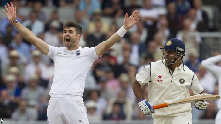 James Anderson and Mahendra Dhoni
