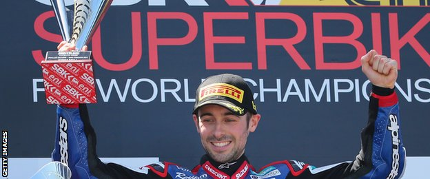 Eugene Laverty celebrates after taking victory in his first race for Crescent Suzuki in February