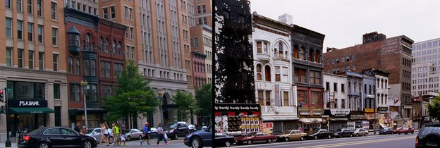 BEfore and after photos of DC street