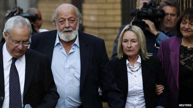 Reeva Steenkamp's parents arrive at the court in Pretoria to hear the concluding remarks in the trial against Oscar Pistorius