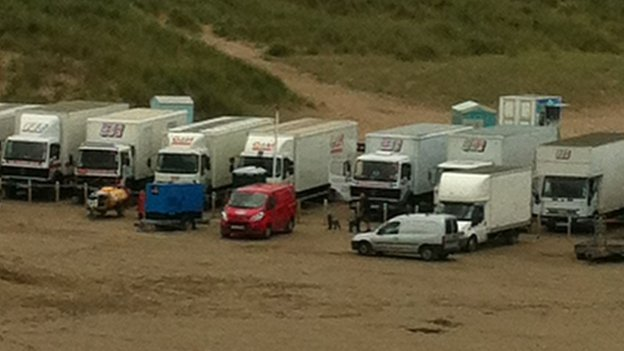 Game of Thrones production vehicles on Portstewart Strand