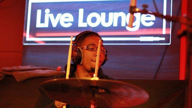 Drummer playing at Radio 1's Live Lounge