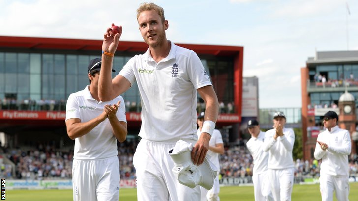 Stuart Broad celebrates his six wickets