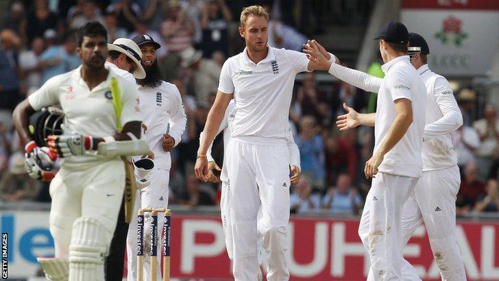 Stuart Broad celebrates bowling Pankaj Singh