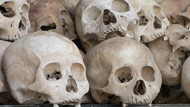 A shelf containing thousands of skulls at the memorial located at the Choeung Ek killing fields, near Phnom Penh, file pic from 2005