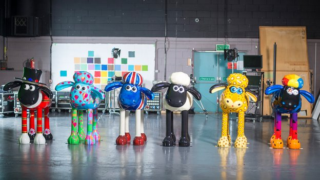 Six customised Shaun sculptures