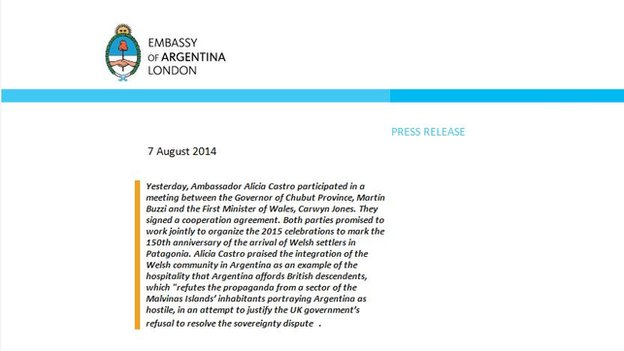 The press release issued by the Argentine embassy