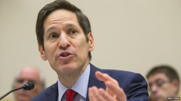 US Centers for Disease Control and Prevention Director Tom Frieden testifies about the Ebola crisis in West Africa during a hearing of a House Foreign Affairs subcommittee on Capitol Hill in Washington 7 August 2014