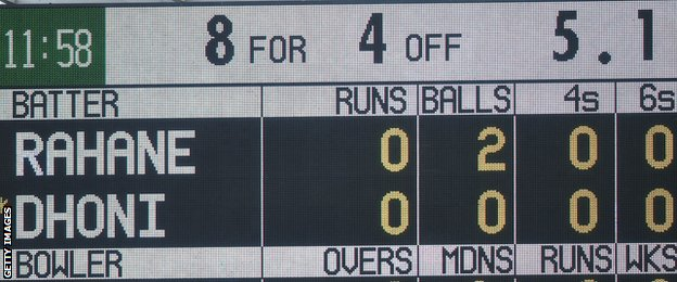 The Old Trafford scoreboard shows India 8-4