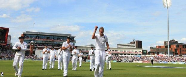 England's Stuart Broad celebrates