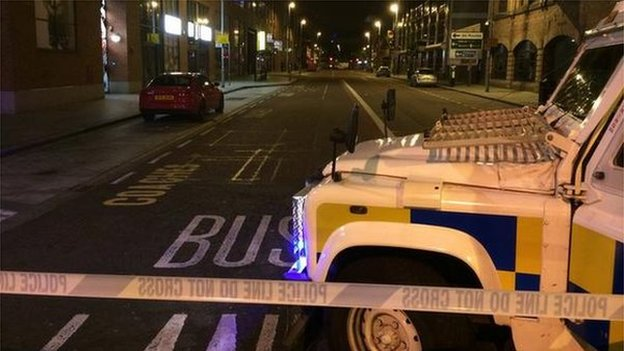The explosion caused a security alert in Belfast city centre