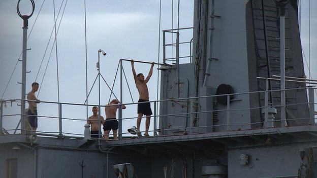 Sailors exercising