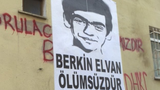Poster of Berkin Elvan, who died in protests in June 2013 (photo taken 7 August 2014)