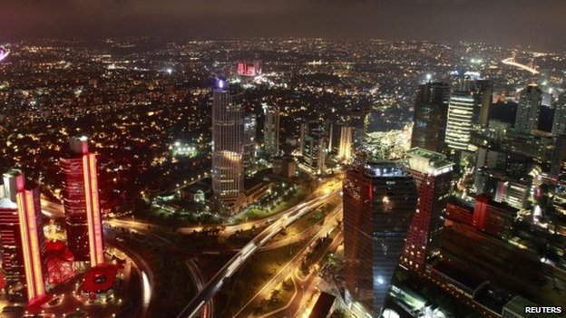 Nighttime aerial view (cityscape) of Istanbul's financial district, the Levent, seen from the Sapphire Tower on 29 August 2013.