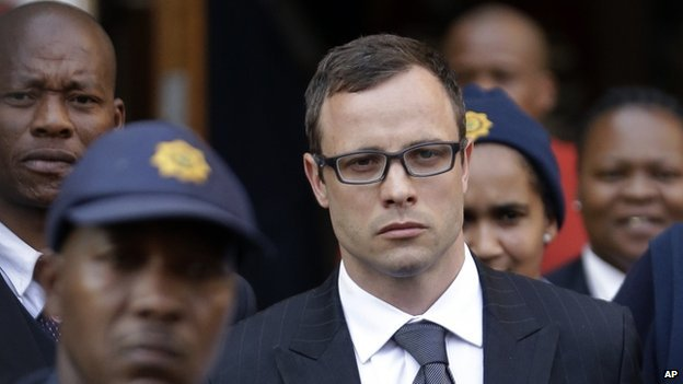Oscar Pistorius leaves the high court in Pretoria, South Africa - Thursday 7 August 2014