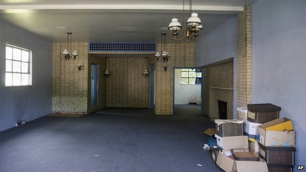 The inside of the former Minus Funeral Home in Dover, Delaware