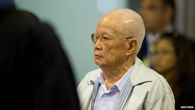 "Cambodia""s former Khmer Rouge President Khieu Samphan arrives at the ECCC before his verdict is delivered on the outskirts of Phnom Penh"