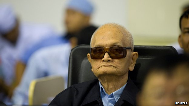 "Former Khmer Rouge leader """"Brother Number Two"""" Nuon Chea sits at the ECCC as his verdict is delivered on the outskirts of Phnom Penh"
