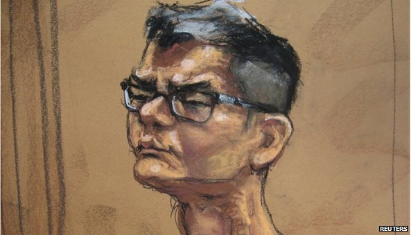 A courtroom sketch of Mr Kurniawan