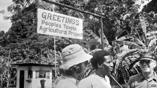 The gate of Jonestown in Guyana (1978)