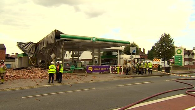 BP petrol station next to factory