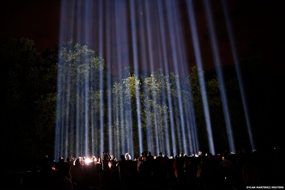 An artwork entitled Spectra by Japanese visual artist Ryoji Ikeda