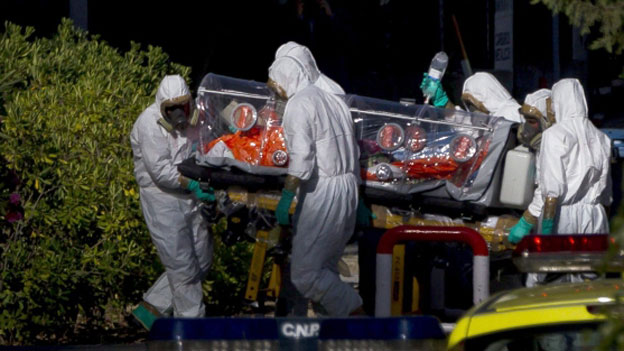 An ebola sufferer arrives in Spain