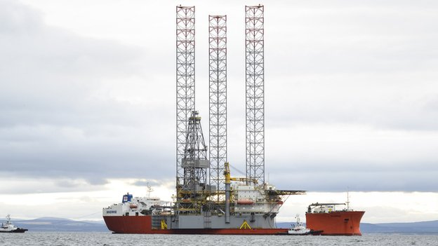 Prospector One arrives by ship in the Cromarty Firth