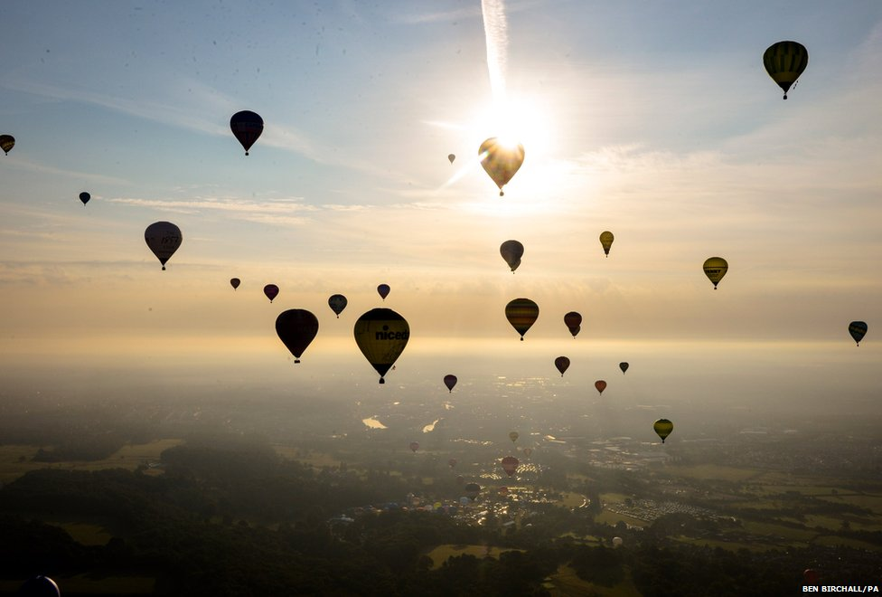 Hot air balloons over north Somerset