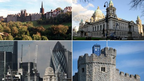 Four images - Edinburgh houses, Belfast city hall, London skyline and Cardiff Castle