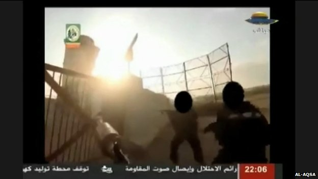 Footage broadcast by al-Aqsa TV allegedly showing fighters attacking an Israeli soldier