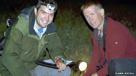 James Silvey of RSPB Scotland (left) and Pete Minting of the Amphibian and Reptile Conservation Trust