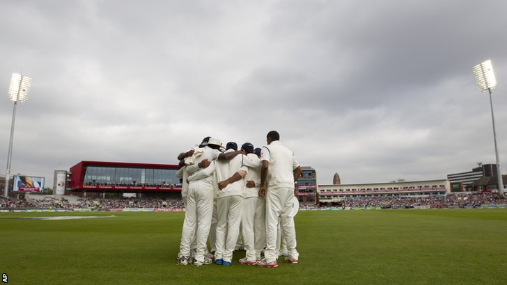 India in their pre-match huddle