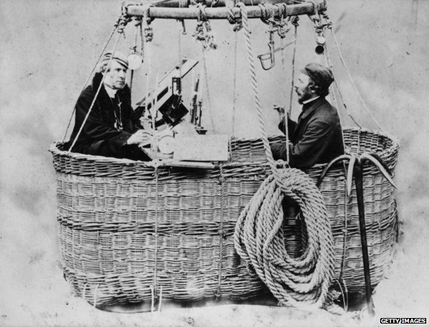 James Glaisher and English aviator Henry Tracey Coxwell in the basket of a hot air balloon