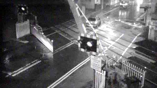 Sion Ramson's car speeds across a Pontyclun level crossing
