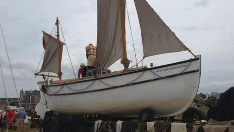 A replica of the lifeboat used by Ernest Shackleton