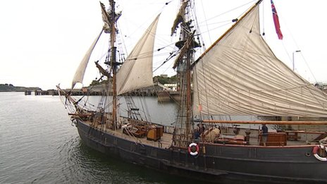A tall ship in Plymouth