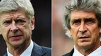 Arsenal manager Arsene Wenger and Manchester City manager Manuel Pellegrini