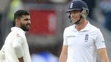 India's Ravindra Jadeja and England's Jos Buttler in the rain