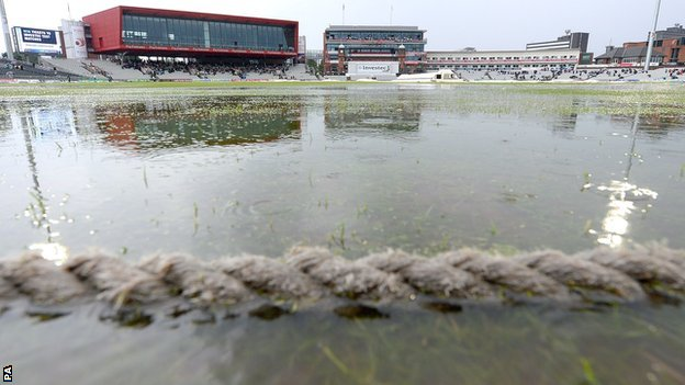 Rain on the outfield at Old Trafford