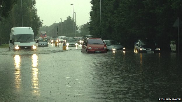 Flooding near the Bar Hill roundabout in Cambridgeshire