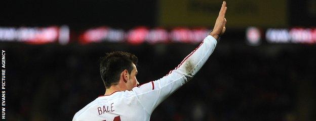 Bale celebrates his Wales goal