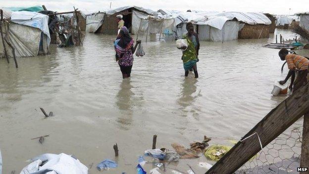 Flooded UN camp in Bentiu