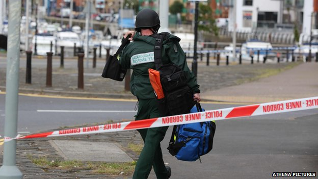A police cordon was placed around the tower in the marina