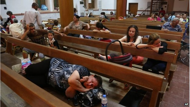 Displaced Iraqi Christians settle at St. Joseph Church in Irbil, 07/08/2014