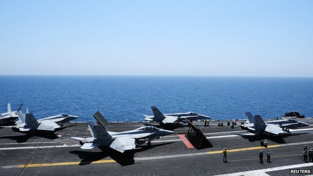 US war planes on George HW Bush aircraft carrier