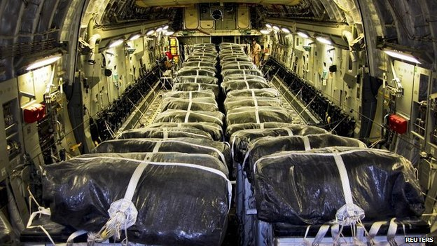 Water bundles loaded on US cargo plane. 9 Aug 2014